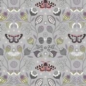 Lewis & Irene - Winter Garden - 6196 - Winter Floral & Moths on Grey - A316.2 - Cotton Fabric